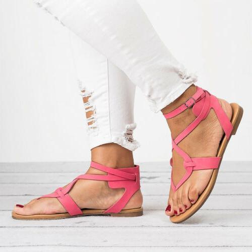 Women Gladiator Flat Ankle Open Toe Shoes