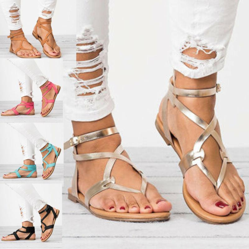 women gladiator roman flat flip flops sandals