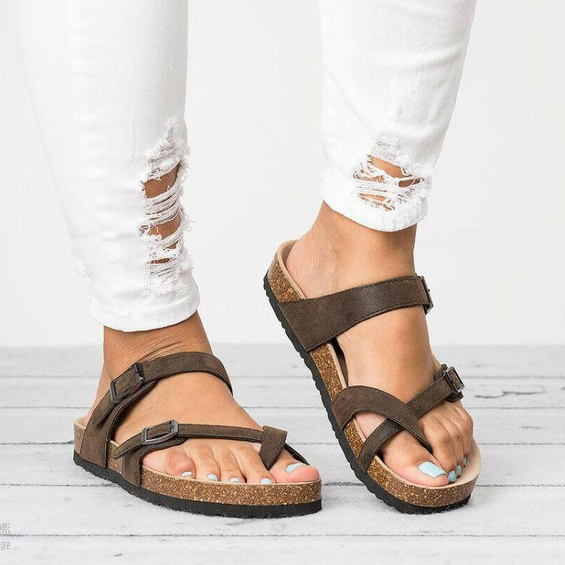 Women's Slide Buckle Cork Flops Flat Sandals