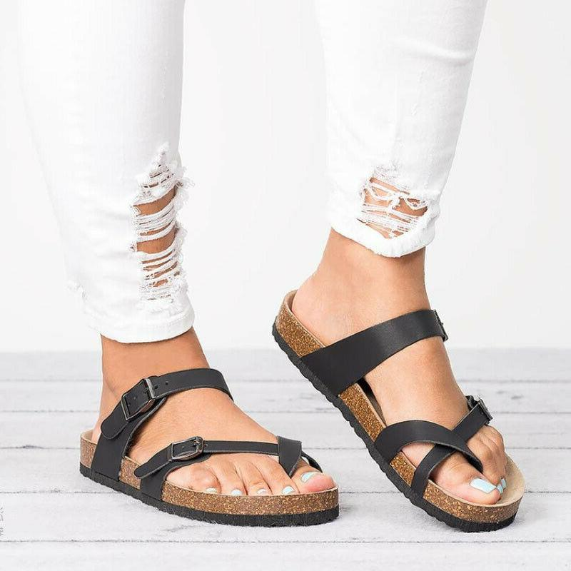 Women's Slide Buckle T-Strap Cork Flops Shoes