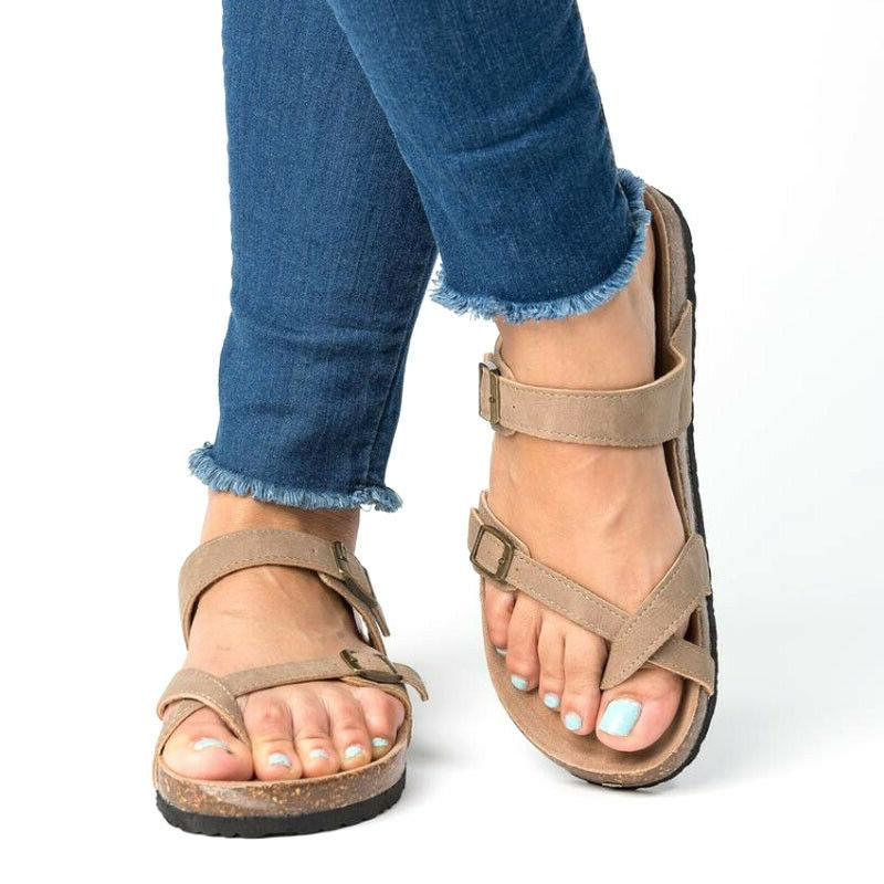 Women's Cork Footbed Platform Flip Flops Shoes