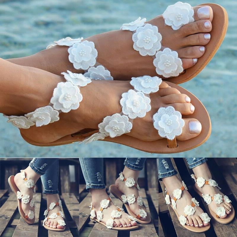 women flower clip toe flat sandals ladies