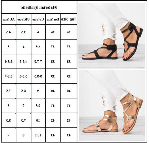 Women Flat Flip Flops Sandals Beach Ankle Strappy Open Shoes