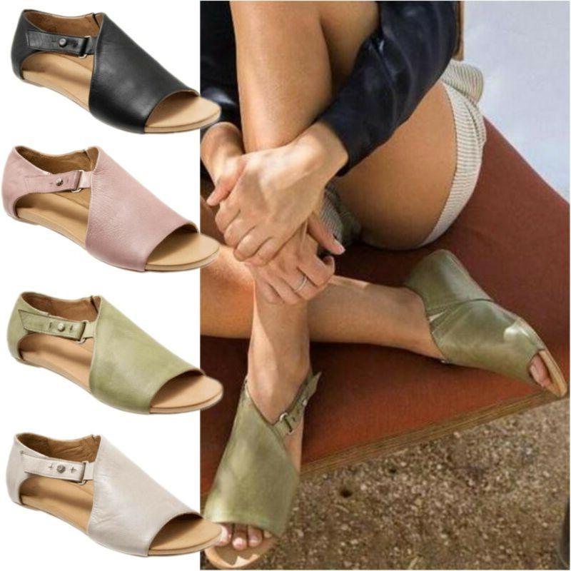 women lady flat gladiator sandals summer beach