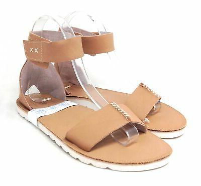 Reef Women's Ankle Strap Flat Tan White Size M