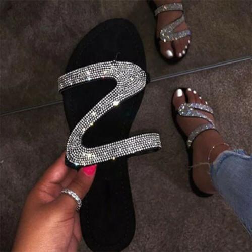 Women's Rhinestone Slipper Flip Casual Flat Shoes