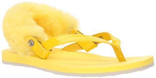 women s laalaa flat sandal lemon yellow