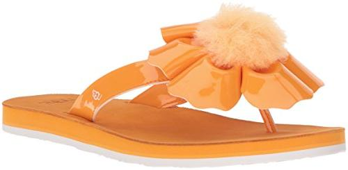 women s poppy flat sandal orange zinnia