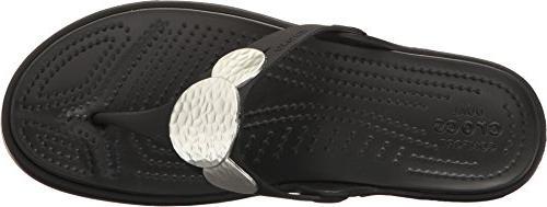 crocs Women's Embellished Flip Metallic,