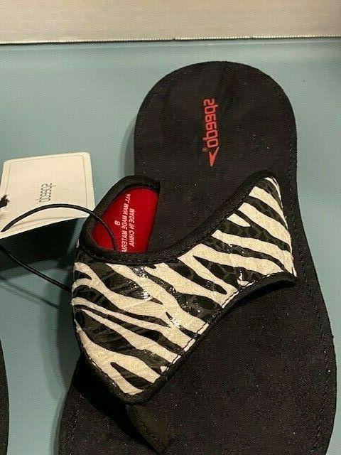 Speedo Women's Flip Flops Thong Shoes Zebra Black