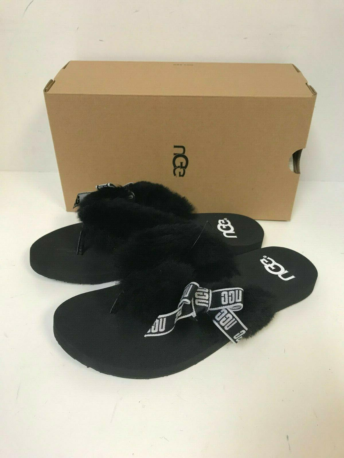 women s sunset graphic black sheepskin flip