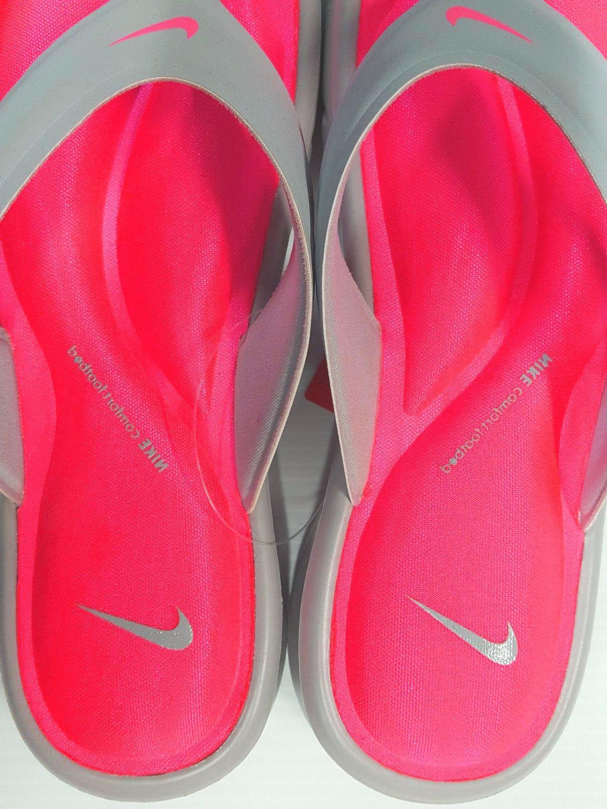 Nike Women's Ultra Thong Flip-Flops Gray/Punch Size