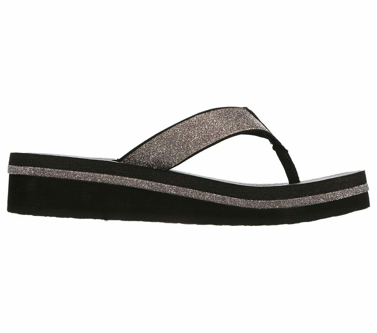 Skechers Micro Glitter Sandals Black Silver 9