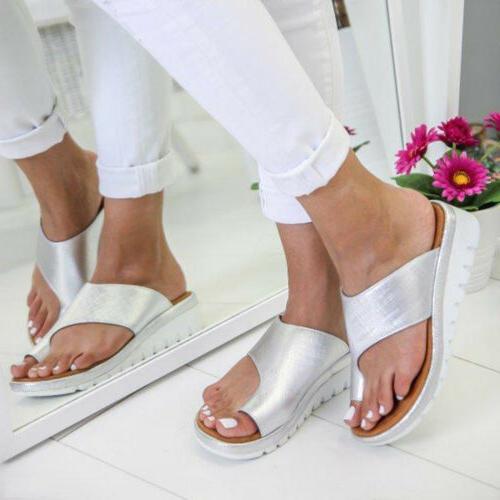 Women Platform Toe Ring Comfy Ladies Wedge US