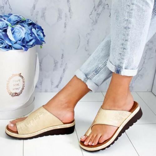 Ring Slippers Sandals Comfy Ladies Wedge Flip Flops US