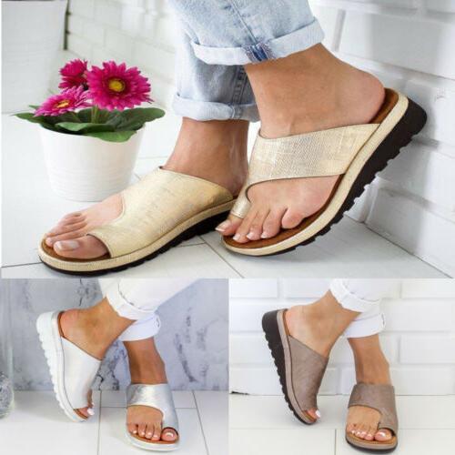 Women Platform Toe Ring Slippers Ladies Wedge Flops US