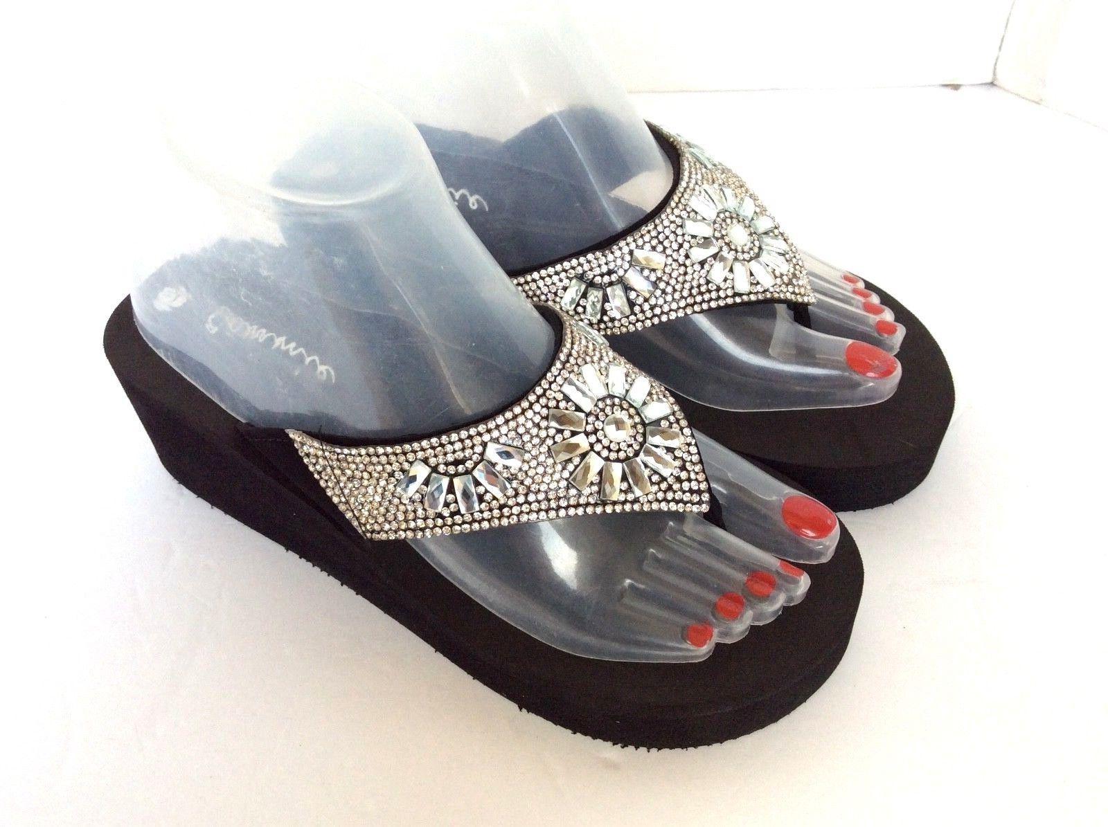 women wedge eva platform jewelry flip flops