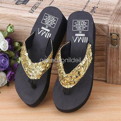 Women Wedge Sandals Sequin