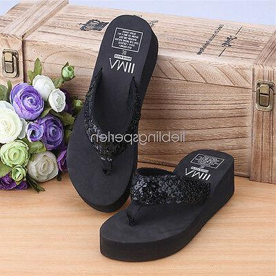 Women Wedge Sequin Thong Platform Slippers Summer