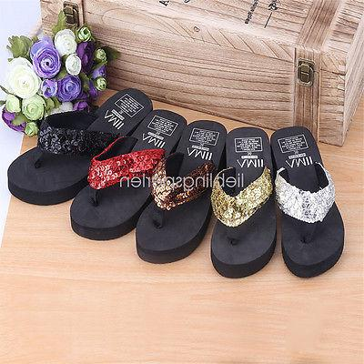 Women Sandals Sequin Thong Flops Slippers Summer Soft
