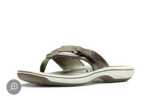 Clarks Womens Breeze Pewter Flip Flops Comfort Summer