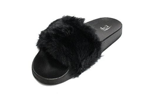 womens flip flop faux fur soft slide