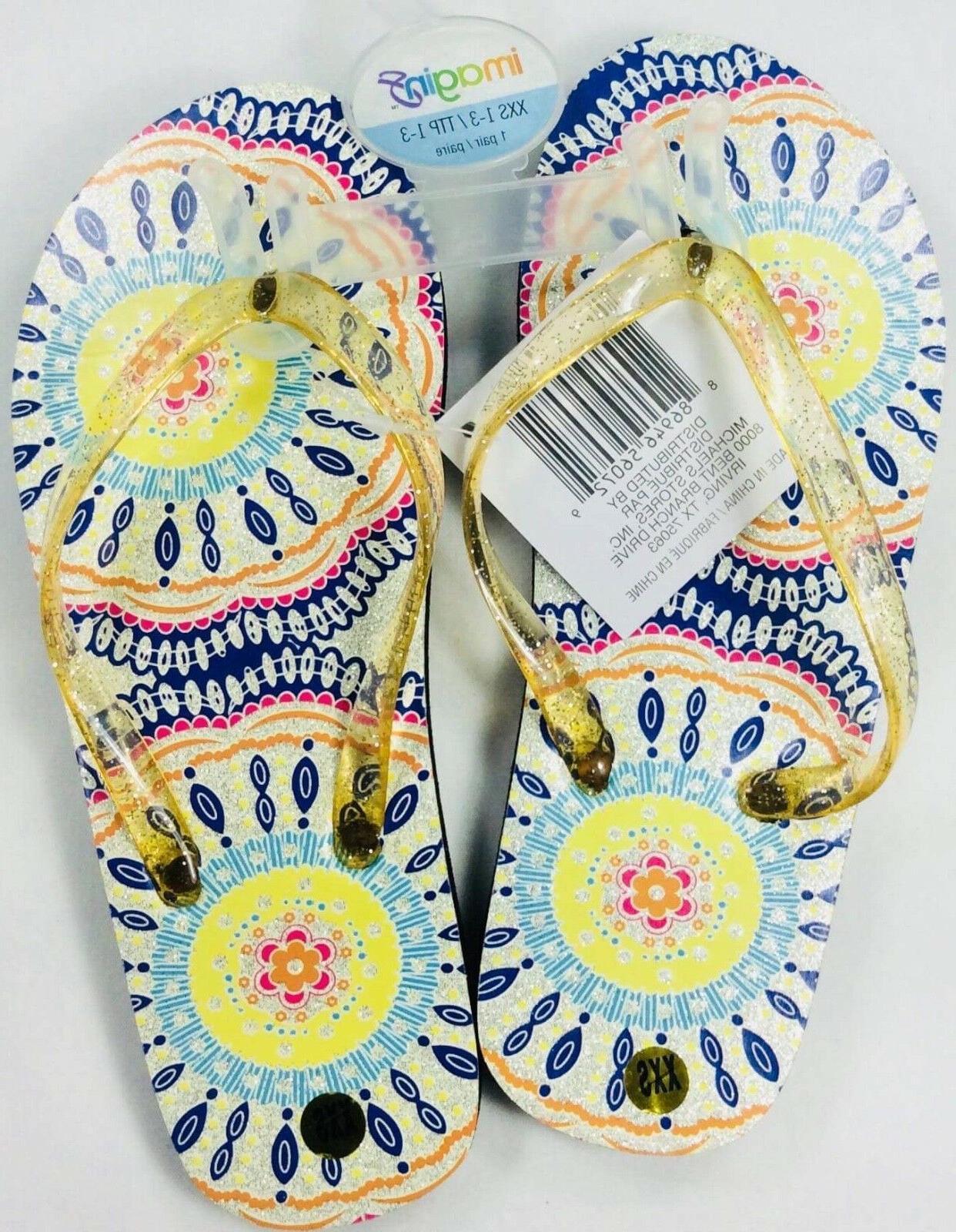 womens flip flops silver floral glitter girls