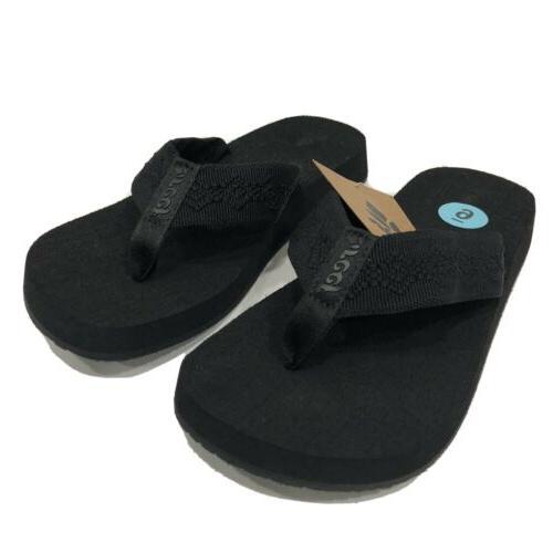 womens sandy flip flops sandals black nwt
