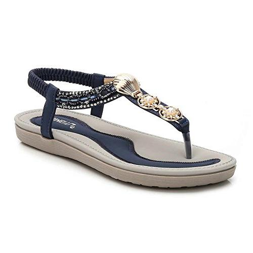 womens summer beach flat sandals rhinestone shiny