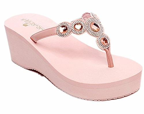 womens summer high wedge beach sandals rhinestone