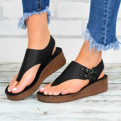 Womens Wedge Thong Flip Flops Lady Summer Beach Slippers Shoes