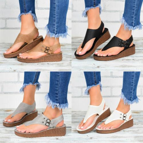 Womens Wedge Platform Flip Flops Lady Beach Sandals Slippers