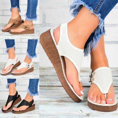 Womens Wedge Thong Flip Flops Summer Beach Sandals