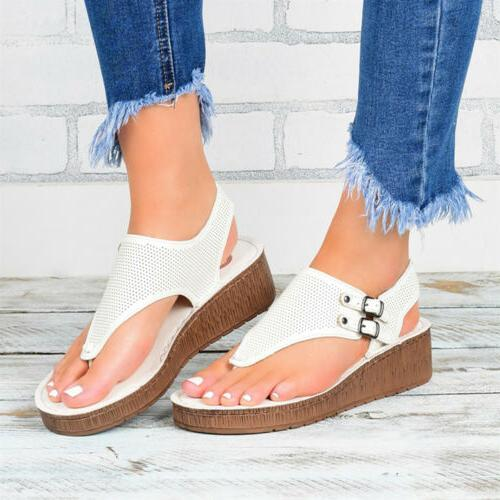 Womens Wedge Flip Lady Summer Beach Sandals Slippers Shoes