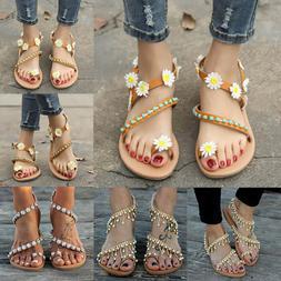 Ladies Womens Bohemian Sandals Summer Holiday Flat Beach Fli