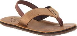 Boy's Reef 'Grom' Leather Sandal, Size 13/1 M - Brown