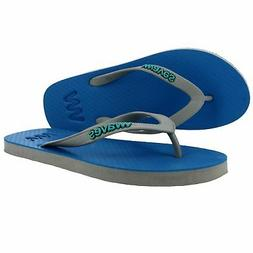 Waves Light Blue and Gray Twofold Thong Rubber Flip Flops Sl