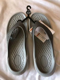Crocs LiteRide Gray Grey Flip Flops M 8 W 10 US NWT *FREE SH