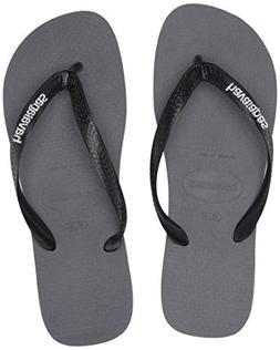 Havaianas Men's Top Logo Filete Sandal, steel grey/white, 45