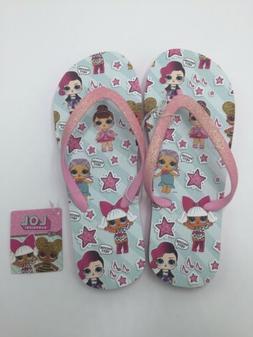 LOL Surprise Summer Flip Flops Size 2 - 3 Big Girls Pink Gli