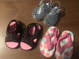 Lot Of Baby Girl Size 3 Summer Sandals Carters Flip Flops Ga