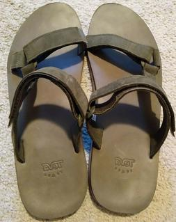 Teva M Universal Slide Leather Dark Olive Men's Sandals Flip