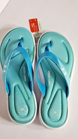UNDER ARMOUR Marbella 4D Foam Aqua Blue Sandals Flip Flops W
