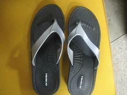 Okabashi Marina Sandals Flip Flops For Women Black with Silv