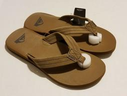 Quiksilver  Carver Suede 3 Point Flip Flop, Tan/Solid  New W