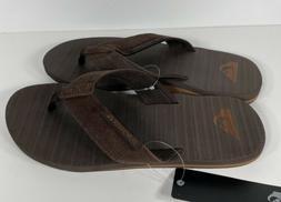 Quiksilver Men's Carver Suede 3-Point Flip-Flop Sandal Dark