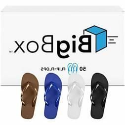 Men's Flip Flops, Wholesale Lot of 50 Pairs, Sizes 7.5-12, B