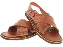 Men's Genuine Leather Sandals Brown Stitched Straps Classic