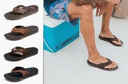 REEF Men's Leather Fanning Bottle Opener Beach & Pool Slides