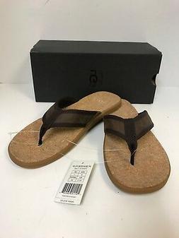 Ugg Men's Seaside Flip Flop Chestnut Leather Sandals-New